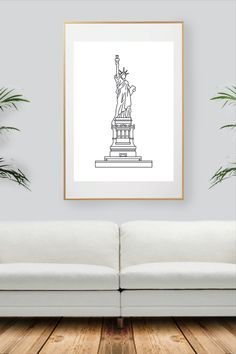 Liberty New York, Nyc, Black And White Wall Art, City Art, Decoration, All Print, Statue Of Liberty, New York City, Handmade Gifts
