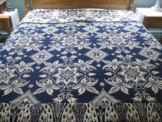 Early American Jacquard Coverlet  Cream & Blue - by Pauline Street (a Ruby Lane Shop)