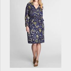 """Lands End Plus size faux wrap Dress flatter every shape. 3 quarter sleeves. lined to prevent show through. perfect day dress for or dress it up for evenings. 100% polyester. Machine wash. 39"""" long Lands' End Dresses"""