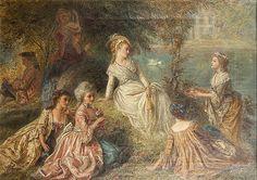 "vivelareine:  ""Marie Antoinette at the Petit Trianon"" by Joseph Bouvier. 19th century. [source: Invaluable]"