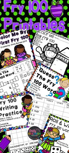 Fry First 100 Word Printables. For Kindergarten and First Grade. Created by Emily Education 2nd Grade Reading, Kindergarten Reading, Kindergarten Classroom, Teaching Reading, Classroom Activities, Classroom Ideas, Classroom Crafts, Learning, Sight Word Practice