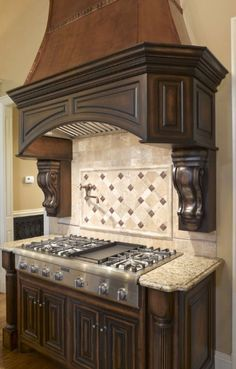 New Kitchen Tile Backsplash Copper Vent Hood Ideas Kitchen Stove, New Kitchen, Kitchen Art, Kitchen Tiles, Granite Kitchen, Kitchen Flooring, Custom Kitchens, Cool Kitchens, Home Decor Kitchen