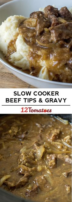 Slow Cooker Beef Tips - an easy winter dinner that the family LOVES!