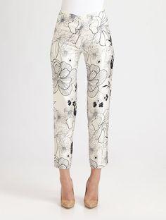 Floral Silkcotton Pants - Lyst
