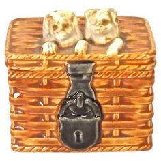 Check out this item at One Kings Lane! Antique Majolica Puppies In Basket Box