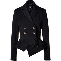 MCQ ALEXANDER MCQUEEN Marine Dart Jacket in Dark Navy (7.408.700 IDR) ❤ liked on Polyvore featuring outerwear, jackets, coats, coats & jackets, long sleeve jacket, double breasted jacket, peplum jacket, long sleeve peplum jacket and mcq by alexander mcqueen