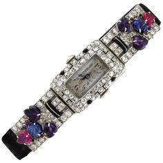 Art Deco Gems and Diamond Set Watch Art Deco Earrings, Art Deco Jewelry, Vintage Jewelry, Antique Jewelry, Art Nouveau, Amazing Watches, Beautiful Watches, Antique Fans, Art Deco Watch