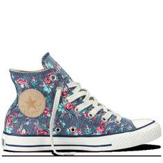 5666d1b01a8151 Converse - Chuck Taylor Floral - Hi - Dark Denim Womens Converse Sneakers