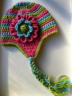 Earflap hat with detachable 3 layer flower peacock by totzhatz a blog about crochet for babies and children crochet hat patterns crafts gardening dt1010fo