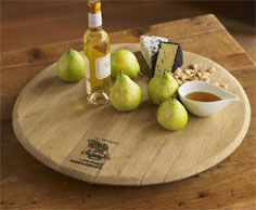 Wine Barrel Lazy Susan for sharing hors d'oeuvres at your next wine tasting party