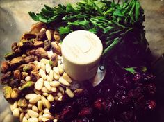 Cranberry pistachio pine nut pesto.. Want to try this in Brie en croute