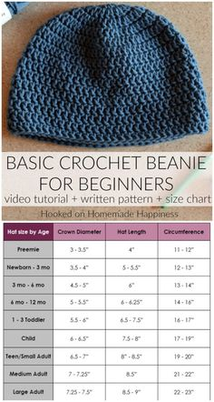 How to crochet a basic beanie for beginners 1 hour easy crochet hat pattern + video for beginners Crochet Hat Sizing, Easy Crochet Hat, Bonnet Crochet, Crochet Round, Crochet Baby Beanie, Hooked On Crochet, Crochet Hats For Babies, Crochet Hook Sizes Chart, Crochet Hooks
