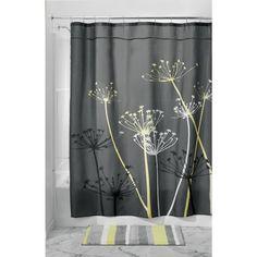 InterDesign Thistle Shower Curtain 72 x 72 Inch Gray Yellow Decor Bathroom New Yellow Shower Curtains, Grey Curtains, Colorful Curtains, Fabric Shower Curtains, Bathroom Shower Curtains, Cortina Floral, College Dorm Bathroom, Curtain Accessories, Bathroom Accessories