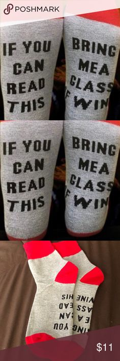 "39fd91dfdaef6c Gray and red quote socks ""If you can read this, bring me a glass of wine""  Accessories Hosiery & Socks"