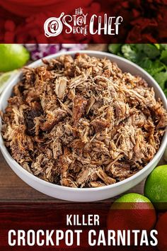 The best crockpot carnitas you'll ever have! Killer Crockpot Pork Carnitas are made in your slow cooker, so it couldn't be easier! This easy recipe is perfect for busy fall weeknight dinners. #crockpotcarnitas #carnitas #slowcooker Pork Recipes For Dinner, Wine Recipes, Slow Cooker Recipes, Crockpot Recipes, Easy Healthy Recipes, Vegetarian Recipes, Pinterest Recipes, Pinterest Food, Healthy Cook Books