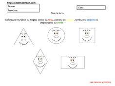 Matematica. Figuri geometrice. Coloreaza. Fisa de lucru. – Catalina Bîrsan Playing Cards, Penguin, Blog, Health, Fitness, Christmas, Mariana, Geometry, Xmas