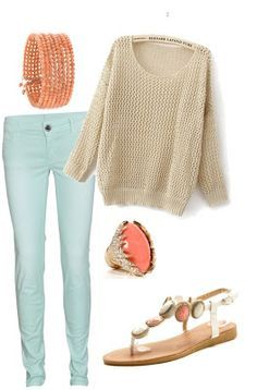 Oversized tan sweater, light mint colored pants, coral bracelet, coral and gold ring, and white coral sandals, really cute outfit for spring or summer, but it would still work for fall or winter | best stuff