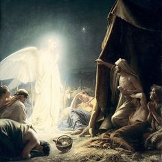 A Mythological Angel announces the birth of 'Jesus' to the shepherds ~ Carl Bloch The Birth Of Christ, Birth Of Jesus, Baby Jesus, Catholic Art, Religious Art, Religious Paintings, Poussin Nicolas, Biblical Art, Holy Mary