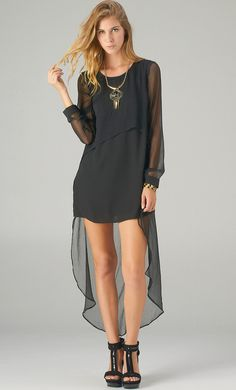 Hi Low Long Sleeve Sheer Dress