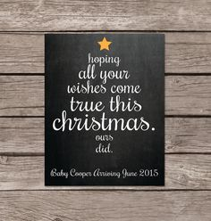 Christmas pregnancy announcement chalkboard, chalkboard pregnancy announcement, winter pregnancy announcement by SweetfaceCelebration on Etsy