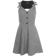 Topshop Gingham Bow Sundress (915 MXN) ❤ liked on Polyvore featuring dresses, topshop, gingham dress, bow dress, button dress, sundress dresses and monochrome dress