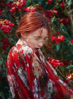 "Audrey Marnay / photo by Erik Madigan Heck for ""Pre-Raphaelite,"" Harper's Bazaar UK(October Editorial Fashion, Fashion Art, High Fashion, Portrait Photography, Fashion Photography, Alfred Stieglitz, Pre Raphaelite, Harpers Bazaar, Shades Of Red"