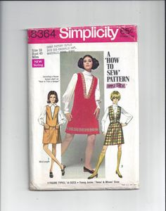 Simplicity 8364 Pattern for Misses' V-Neck Jumper in 2 Lengths, Size 18, From 1969, How to Sew Pattern, Vintage Pattern, Home Sew Pattern by VictorianWardrobe on Etsy