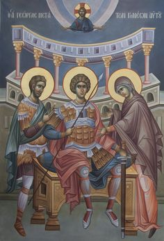 Saint George the Great Martyr and Trophy Bearer with his Parents ☦️ may they intercede for us 🕯️ Byzantine Icons, Byzantine Art, Religious Images, Religious Art, Religious Paintings, Saint George, Orthodox Icons, Saints, Marvel