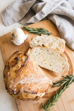 Roasted Garlic & Rosemary No Knead Artisan Bread is an easy rustic bread recipe that you will wonder why you haven't tried making artisan bread before!