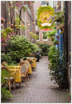Street Cafe in Amsterdam, Holland Places Around The World, Oh The Places You'll Go, Travel Around The World, Places To Travel, Around The Worlds, Beautiful World, Beautiful Places, Magic Places, Sidewalk Cafe