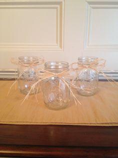 Mason Jar with Raffia - Set of 6 - Wedding Centerpiece - Rustic Wedding. $15.00, via Etsy.