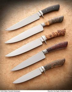 The test knives of Argentina's first ABS Journeyman Smith Facundo Montenegro J.S.