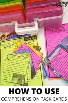 Learn more about using comprehension task cards to help your 1st, 2nd, and 3rd grade students practice their common core literacy skills while staying engaged in the learning. There are bundles and freebies for each of the three grade levels. Fluency Activities, Grammar Activities, Reading Activities, Writing Activities, Reading Centers, Reading Groups, Common Core Ela, 3rd Grade Reading, Phonological Awareness