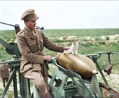 an officer of the 444th Siege Battery and feline mascot
