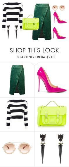 """""""Neon for Work"""" by retrosam76 ❤ liked on Polyvore featuring Roseanna, Jimmy Choo, Boutique Moschino, The Cambridge Satchel Company, Gucci, Alexis Bittar, neon and career"""
