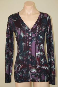 NWT Chelsea & Theodore Purple Teal Blue Wine Long V-neck Cardigan Sweater sz S #ChelseaTheodore #Cardigan