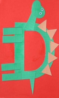 Letra D imprimible de dinosaurio para actividades infantiles #dinosaurios #manualidades #diy
