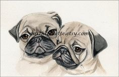 Art, Painting, Dogs, Pug Puppies, 5x8 Original Watercolor Painting. Earthspalette op Etsy, 26,92 €