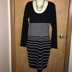 NWT Max Studio Stripped Sweater Dress Gorgeously fitting dress from Max Studio. If you have worn their dresses before then you know they are worth every penny! This dress is black and white striped and is very comfortable! Material is 75% Rayon and 25% Polyester. Tags are still attached and dress is in exquisite condition. Max Studio Dresses Long Sleeve