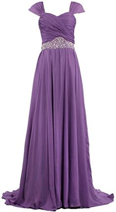 f868c7b1400 ANTS Women s Bead Chiffon Mother of Bride Evening Dress Long Size 14 US  Purple ANTS http