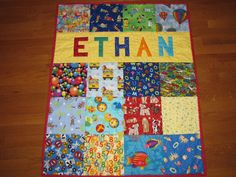 I Spy Quilt with Name Boy or Girl Colorful by FabricCreationsFran, $95.00