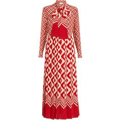 Gucci Long-sleeved geometric-print silk dress (€3.660) ❤ liked on Polyvore featuring dresses, gucci, red white, white pleated dress, red white dress, long sleeve embellished dress, embellished dress and red long sleeve dress