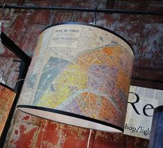 DIY lamp shade, mod podge a map to a shade!