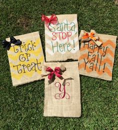 Burlap Garden flag seasonal bundle- this listing is for 4 garden flags -Happy fall yall -Santa stop here -Trick or treat -Monogram initial (