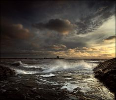 Gorgeous stormy seas in Scotland. Almost looked painted because of the processing. I want this for my wall.