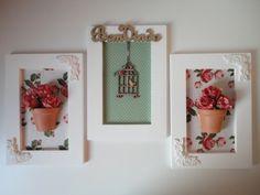 Quadro flores com tecido, flores em eva e peças em mdf R$ 210,00