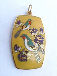 very attractive #Vintage #Yellow #Cloisonne #Pendant decorated with a couple of green and white #Birds perched on #Purple #Flowers available at #VillaCollezioneBoutique, $25.00