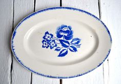 Large French Antique Ironstone Blue Stencilware Oval Platter Serving Plate Sarreguemines & Digoin Simone