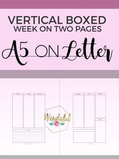 FREE PRINTABLE! Wendaful Designs - Vertical Boxed Week On Two Pages Planner Inserts