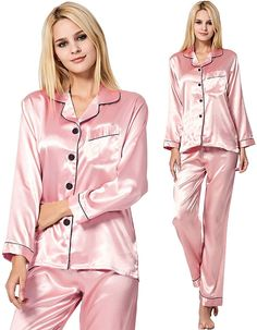 Pink Silk Pajamas, Satin Pajamas, Pyjama Satin, Satin Sleepwear, Satin Dresses, Nice Dresses, Bridal Party Pajamas, Night Suit For Women, Satin Lingerie